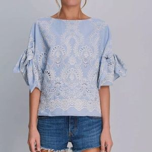 NWT Alice & Trixie Chambray Embroidery Sawyer Top